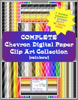 Digital Paper Bundle - Chevrons (Rainbow)