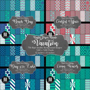 12x12 Digital Paper - Color Scheme Bundle: Vacation (600dpi)