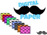 Digital Paper: Colorful Mustache Background for Personal and Commercial Use