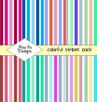 Digital Paper- Colorful Stripes Paper