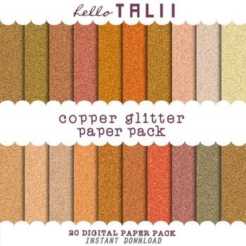 Digital Paper: Copper Glitter Textures