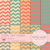 Coral Mint Cream - Digital Paper - Chevron Background