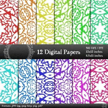 Digital Paper Corner Jpeg Album Graphics Background Seamless Clip Collag Set A4