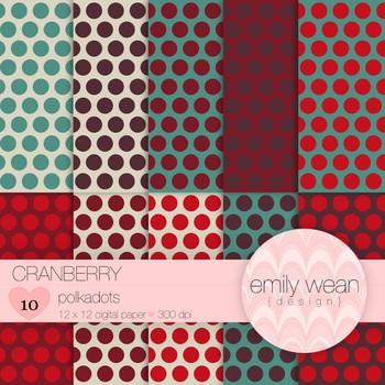 Cranberry - Digital Paper - Polkadots Background