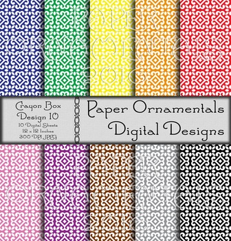 Digital Paper: Crayon Box Designs Set 10