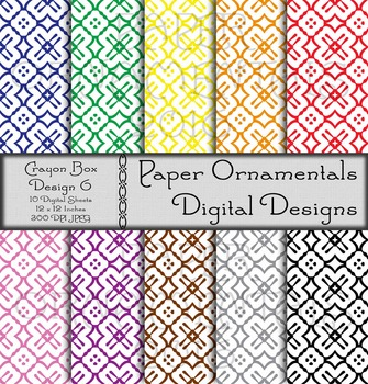 Digital Paper: Crayon Box Designs Set 6