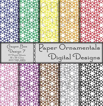 Digital Paper: Crayon Box Designs Set 7