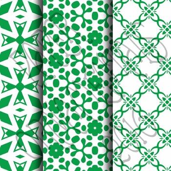 Digital Paper: Crayon Box Green Set 1