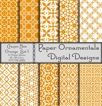 Digital Paper: Crayon Box Orange Set 1