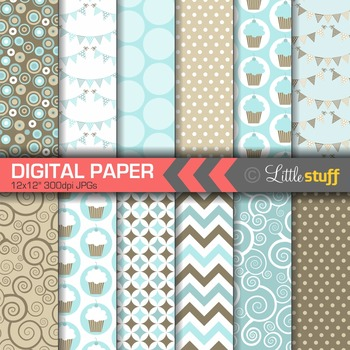 Digital Paper, Cupcake Celebration Digital Paper Pack, Blue and Brown