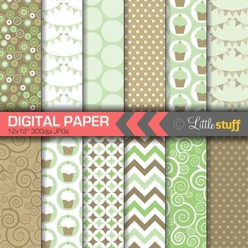 Digital Paper, Cupcake Celebration Digital Paper Pack, Min