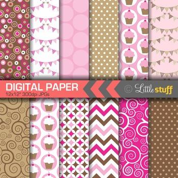 Digital Paper, Cupcake Celebration Digital Paper Pack, Pink & Brown
