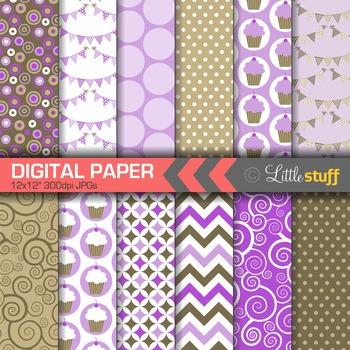 Digital Paper, Cupcake Celebration Digital Paper Pack, Purple & Brown