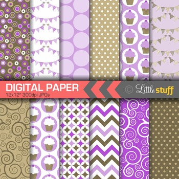 Digital Paper, Cupcake Celebration Digital Paper Pack, Pur