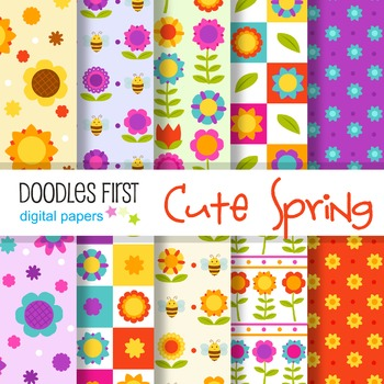 Digital Paper - Cute Spring Flowers great for Classroom art projects