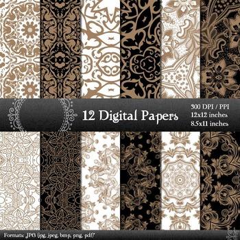 Digital Paper Damascus  12 X 12 + 8.5 X 11 Template Texture Scrap Book Sheet A4