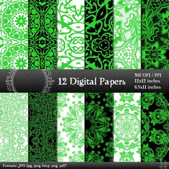 Digital Paper Damask 12x12 + 8.5x11 Inch Printable Abstract Retro Digital Corner