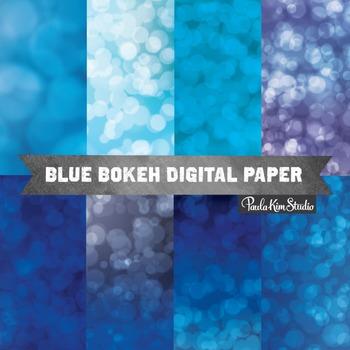 Digital Paper - Blue Bokeh