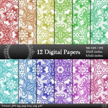 Digital Paper  Decoration Embellishment Pack Jpg A4 Lot Pattern Book Paper Jpeg