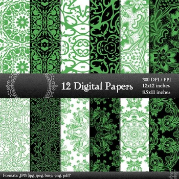 Digital Paper  Decoration Lace Fabric Album Paper Digital Vintage Damask Corner