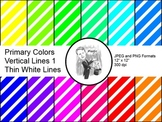 Digital Paper - Diagonal Lines Primary Colors 1 (Thin White Lines)