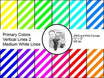Digital Paper - Diagonal Lines Primary Colors 2 (Medium Wh
