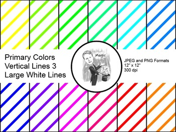 Digital Paper - Diagonal Lines Primary Colors 3 (Large White Lines)