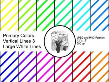 Digital Paper - Diagonal Lines Primary Colors 3 (Large Whi