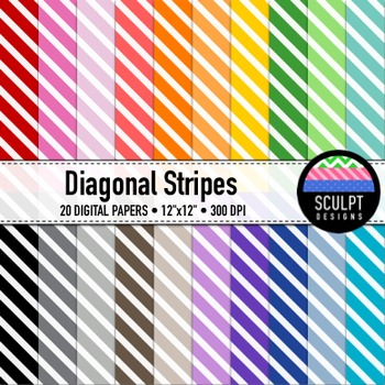 Digital Paper ~ Diagonal Stripes ~ Twenty Colors