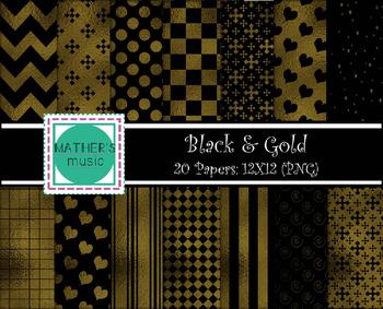 Digital Paper / Digital Background - Black & Gold