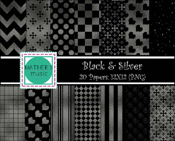 Digital Paper / Digital Background - Black & Silver
