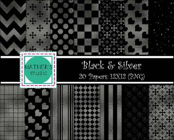 Digital Paper / Digital Background - Black & Silver