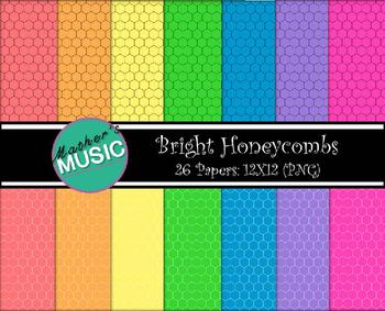 Digital Paper / Digital Background - Bright Honeycombs