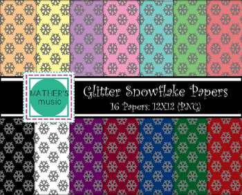 Digital Paper / Digital Background - Glitter Snowflakes