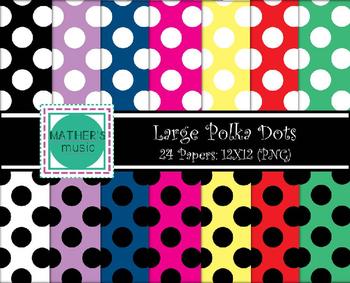 Digital Paper / Digital Background - Large Polka Dots
