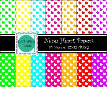 Digital Paper / Digital Background - Neon Hearts