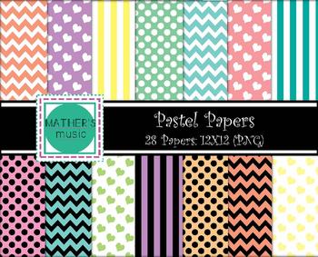 Digital Paper / Digital Background - Pastel