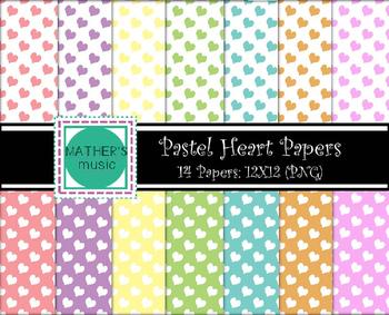 Digital Paper / Digital Background - Pastel Hearts