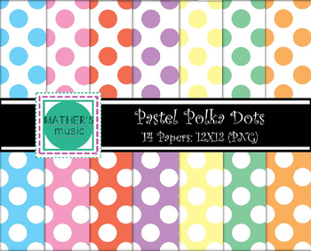 Digital Paper / Digital Background - Pastel Polka Dots