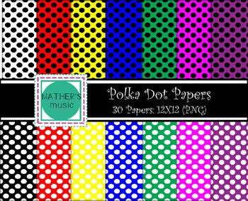Digital Paper / Digital Background - Polka Dots