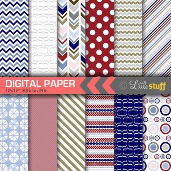 Digital Paper, Digital Backgrounds, Patterns, Chevrons Stripes Polka Dots