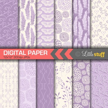 Digital Paper, Digital Backgrounds, Patterns, Feathers Floral Butterflies