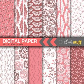 Digital Paper, Digital Backgrounds, Patterns, Feathers Floral Butterflies