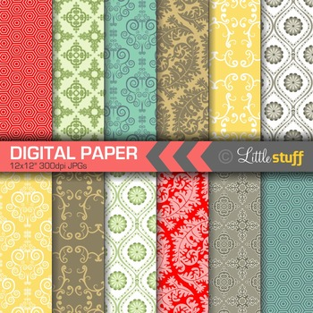 Digital Paper, Digital Backgrounds, Vintage Wallpaper Style Patterns