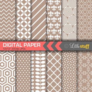 Digital Paper, Digital Backgrounds, White Patterns on Kraft Paper