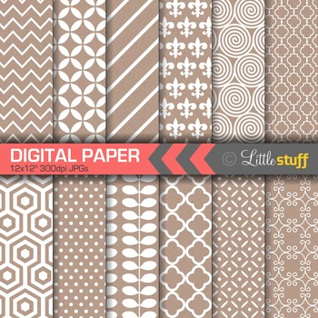 Digital Paper, Digital Backgrounds, White Patterns on Kraft Paper