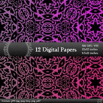 Digital Paper Digital Jpg Collag Book Layout Supplie Graphics Card Corner Ornate