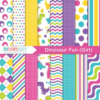 Digital Paper - Dinosaur fun (girl)