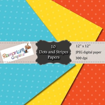 Digital Paper Dots and Stripes