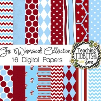 Digital Papers - Whimsical Themed Red and Blue for Commercial and Personal Use